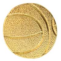 Basketball Hat or Lapel Pin Gold
