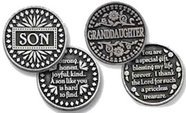 Son, Daughter, Grandson, Granddaughter, Godmother Coins