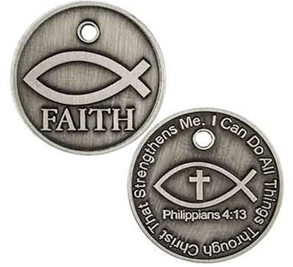 Faith Jesus Fish Coin All Things Through Christ