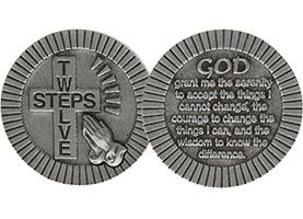 12 Steps Pewter Christian Coin