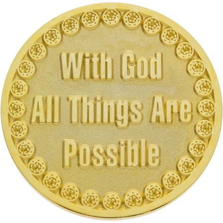 With God All Things Are Possible Gold Golf Coin