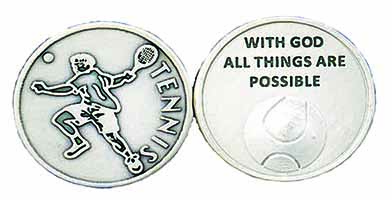 Tennis Player Coin Never Give Up