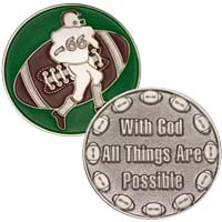 Football Coin  With God All Things Possible