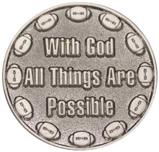 Football Player Coin Silver With God All Things Are Possible