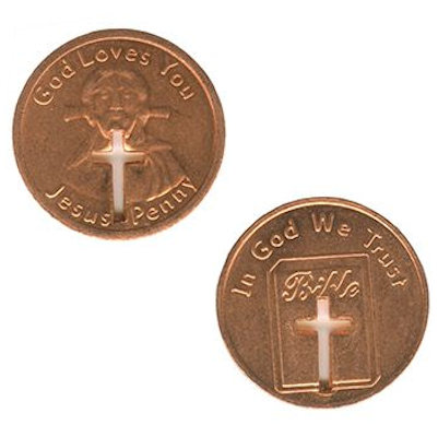 God Loves You Jesus Cross Coin Penny