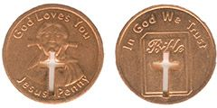 Jesus Penny, Cut-out Cross Copper Coin