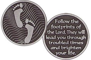 Footprints In the Sand Pewter Coin feet