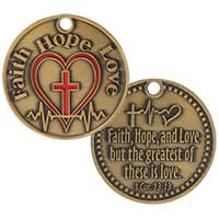 Faith, Hope and Love Pewter Coin