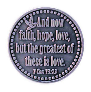 Faith, Hope and Love Pewter Coin Pewter