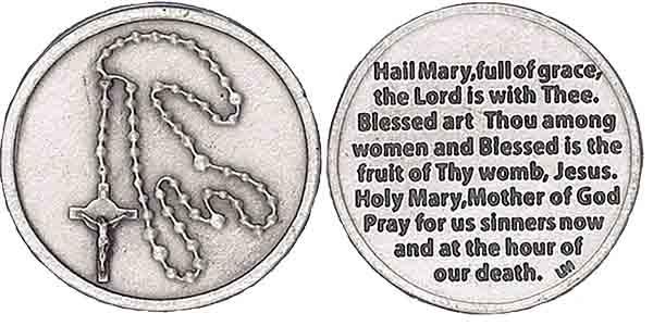 1104d7a36ba Rosary Pocket Coin Silver Hail Mary