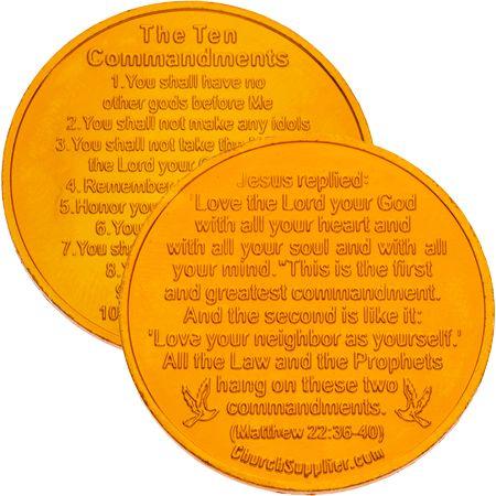 Ten Commandments Golden Tokens Aluminium