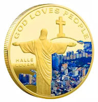 God Loves People Gold Jesus Coin Deluxe