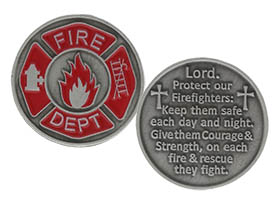FireFighters Prayer Pocket Coin Red Pewter