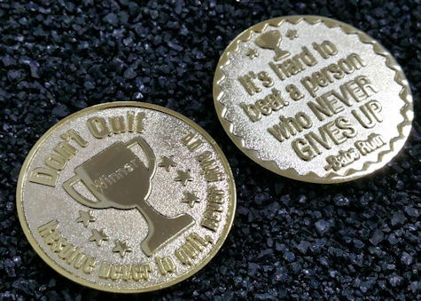 Winner coin, Never Give Up Gold Sports Coin