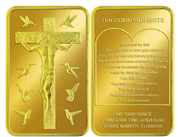 Ten Commandments Coins Gold Plated