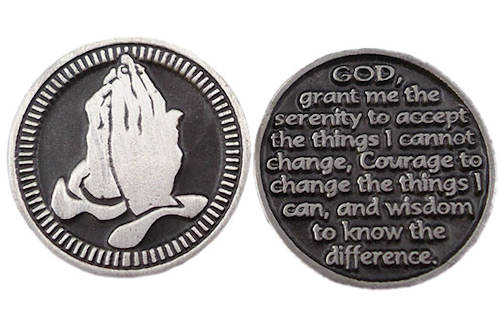Pewter Praying Hands Serenity Prayer Coin