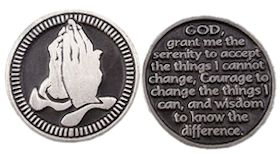 Pewter Praying Hands Serenity Prayer Coin