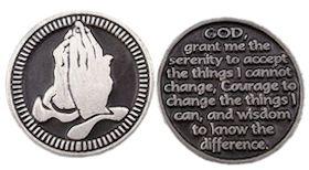 Praying Hands Serenity Prayer Coin Pewter