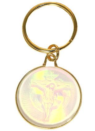 Crucifix Spirit Dove Holographic Key Chain