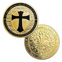 Gold Knights Templar Coin Black Accent
