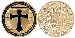 Gold Clad Knights Templar Coin