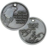 Wings as Eagle Christian Bible Coins Pewter