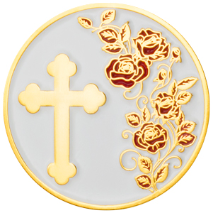 Thank You Gold Appreciation Coin - Roses & Cross