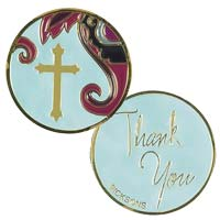 Thank You Gold Coin w Cross