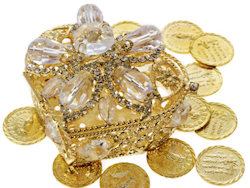 Gold Treasure Chest Wedding Arras Jeweled Box & Unity Coins
