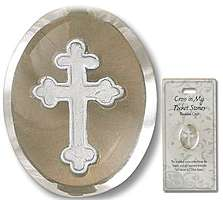 Budded Cross Clear Pocket Stone