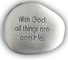 With God All Things Pewter Pocket Stones