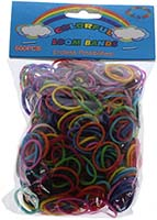Colorful Loom Bands w/ Solid Color Connectors (Pkg of 600)