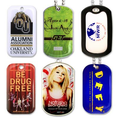 Custom Litho 4-Color Process Printed Dog Tag on Stainless Steel