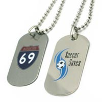 Stainless Steel Dog Tag Photo Etched with Soft Enamel
