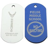 Custom Color Coated or Anodized Aluminum Dog Tag - Laser Engraved