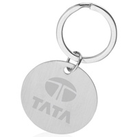 Custom Round Polished Chrome Laser Engraved Keychain