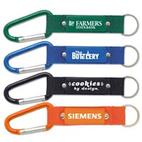 Engraved Keychain w/Carabiner & Mesh Strap