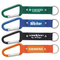 Custom Engraved Keychain w/Carabiner & Mesh Strap
