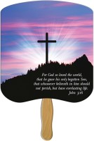 John 3:16 Custom Cardboard Fan Wood Handles 200 Minimum