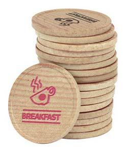 Custom Printed Wooden Coins, Tokens - 1000 Minimum