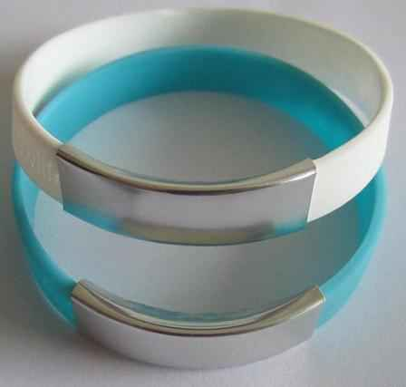 Custom Silicone Bracelets With Metal Plates (500 Minimum)