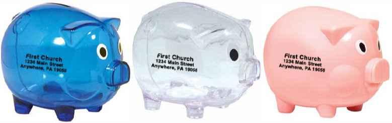 Plastic Piggy Bank Medium  -150 Minimum