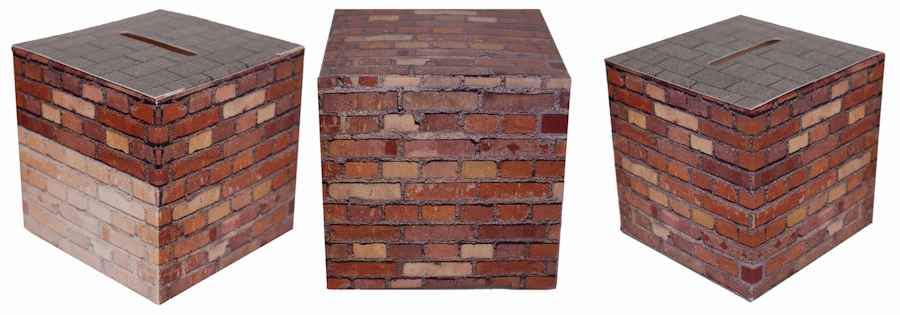 Brick Building Fund Bank Donation Box Pkg of 50