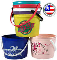 Donation Plastic Sand Pails 64 oz with Handle and Coin Slot
