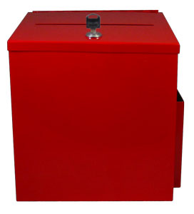 Metal Locked Donation Box Red