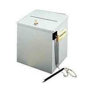 Metal Locked Donation Box White