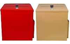 Red & Brown locked large metal donation boxes
