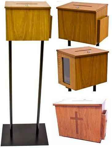 Locked Wood Donation Box On Stand With Or Without Cross