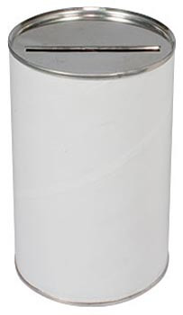 Blank 2 5/8  x 4 inch Diameter Charity Donation Cans (Case of 100)