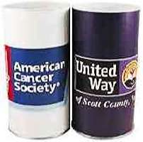 custom donation cans